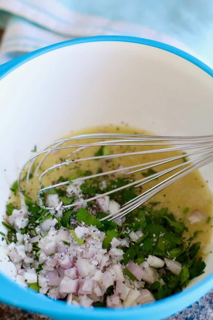 fresh herbs, shallot, garlic vinaigrette