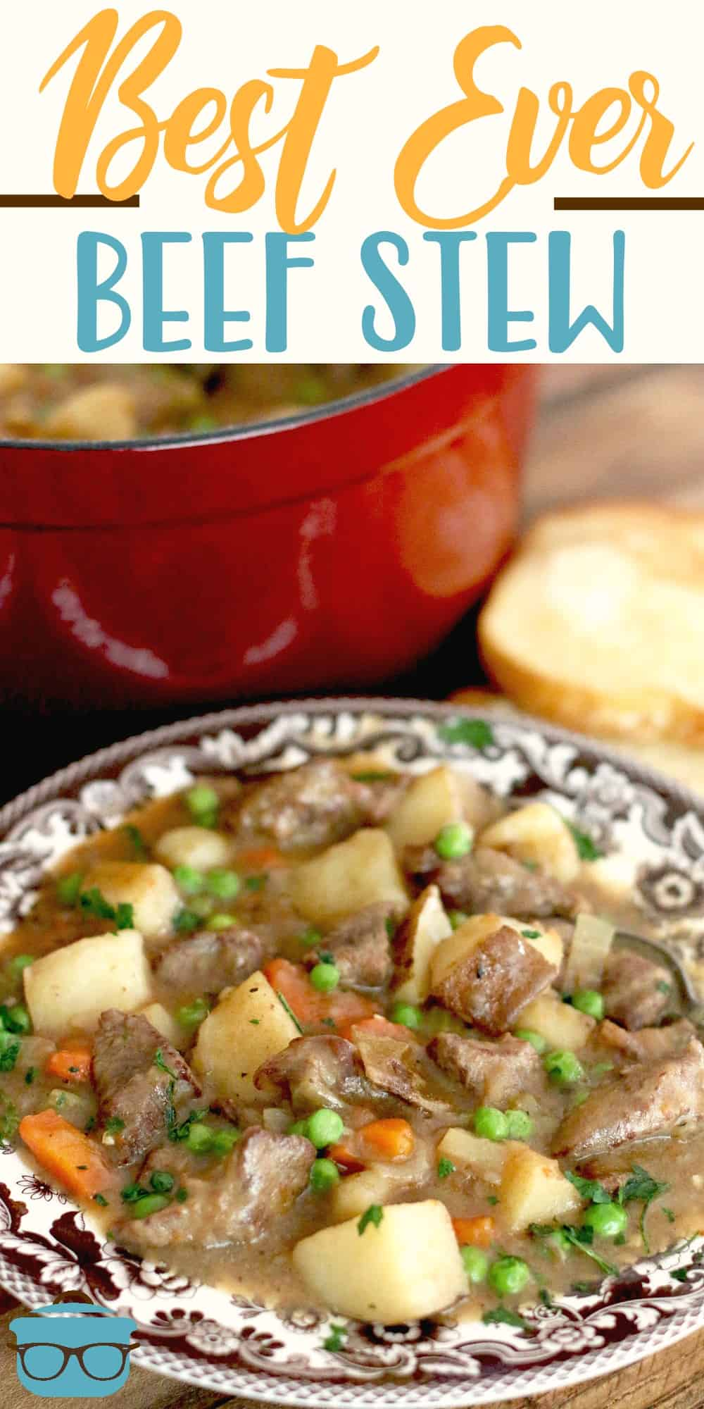 One Pot Best Ever Beef Stew really is the best ever! It's thick and stuffed full of beef, potatoes, carrots, onion, celery and peas! #beefstew #dinner