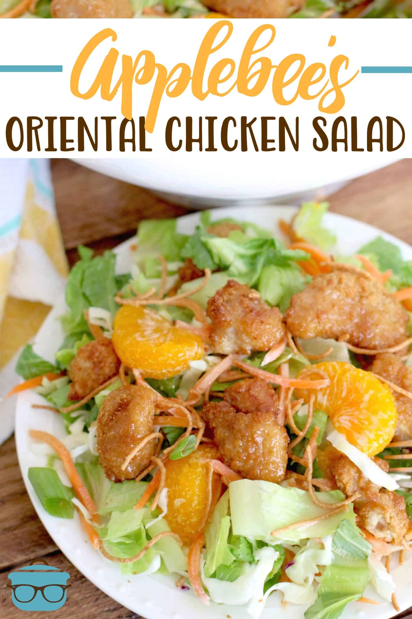 Copycat Applebee's Oriental Chicken Salad is full of chunks of chicken, mandarin oranges and the most scrumptious dressing ever! #orientalchickensalad #sesamedressing
