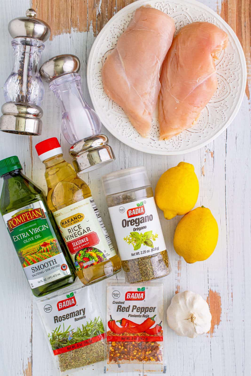 ingredients needed: chicken breast, rice vinegar, lemon, garlic, olive oil, oregano and rosemary.