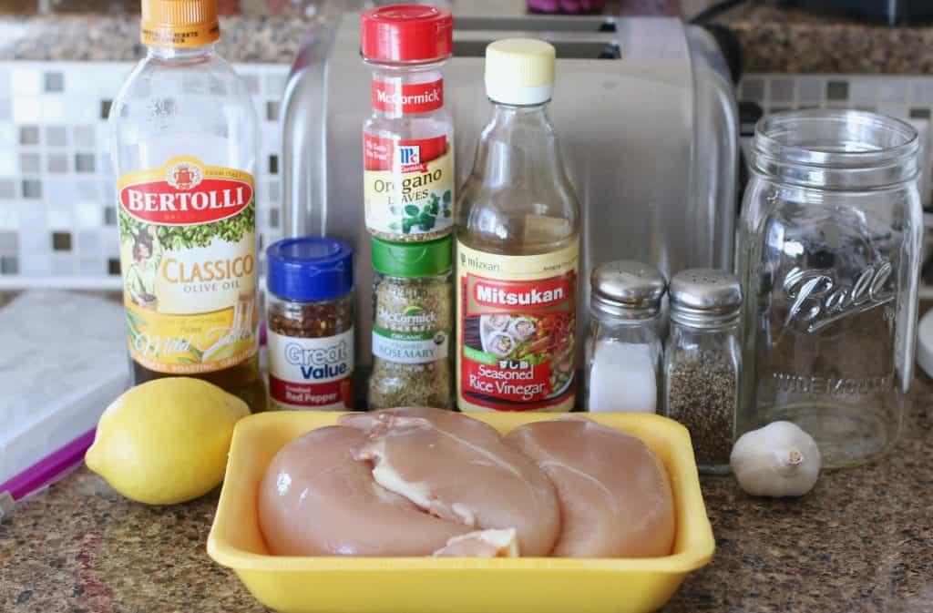 chicken breast, rice vinegar, lemon, garlic,