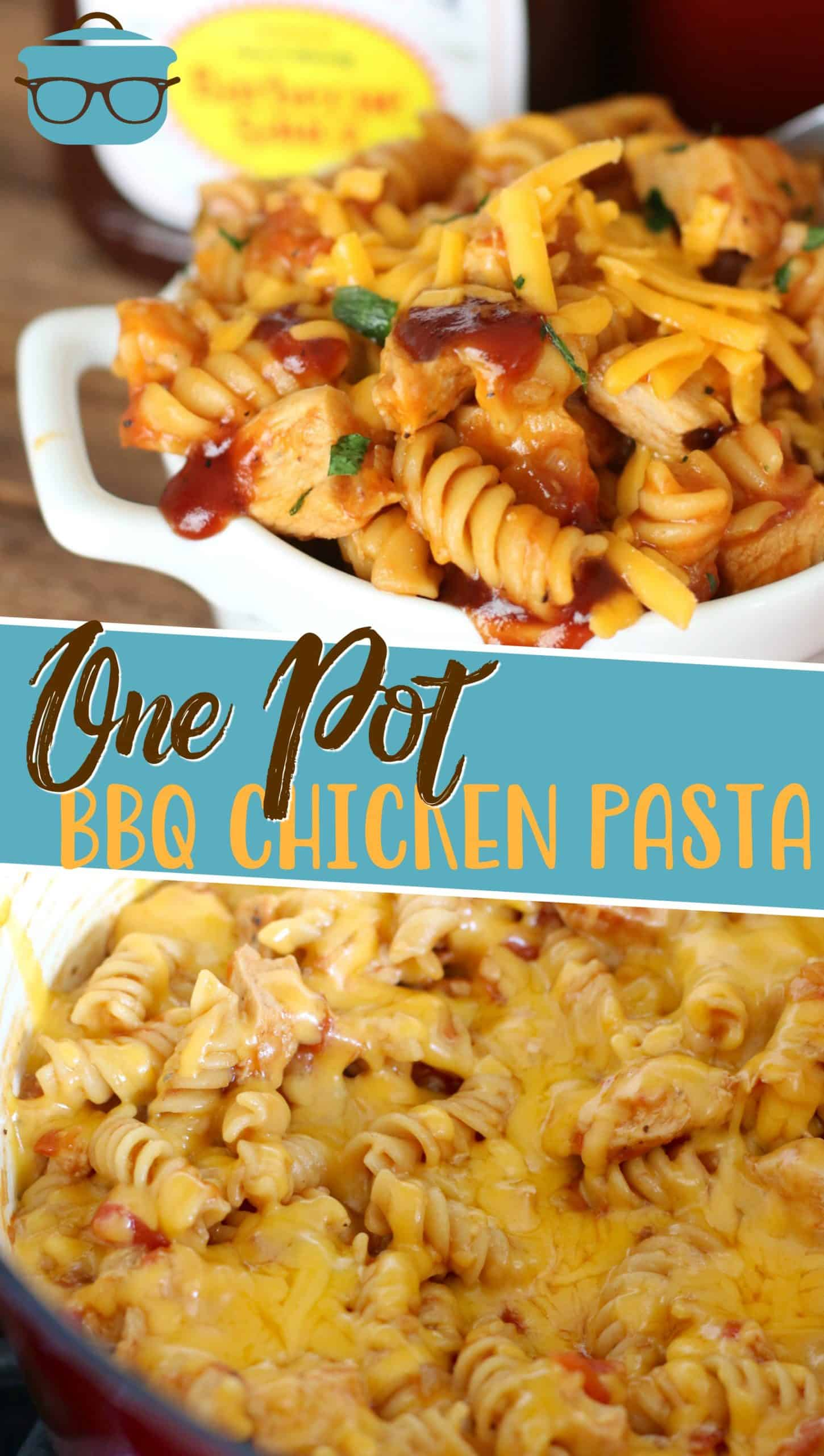 One Pot BBQ Chicken Pasta has so much flavor but is so easy to make! Rotini pasta, chicken breasts, BBQ sauce and melted cheese! YUM! onepotmeal #chickenpasta