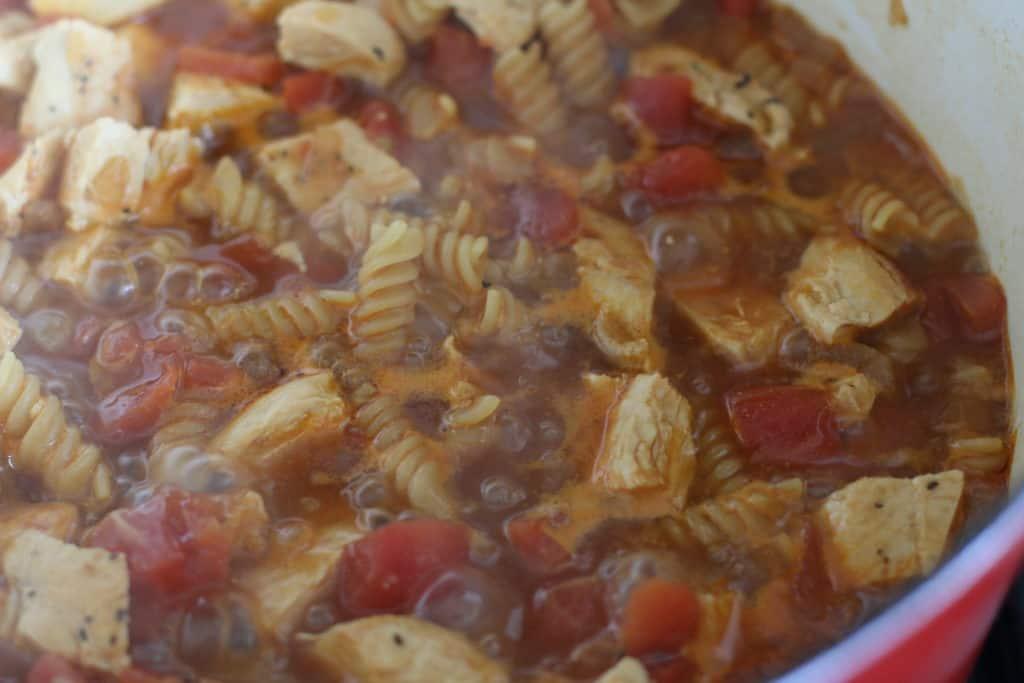 pasta in boiling liquid in a pot