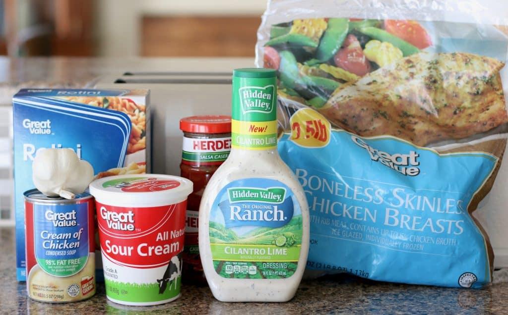 frozen chicken breasts, ranch dressing, sour cream, rotini, salsa