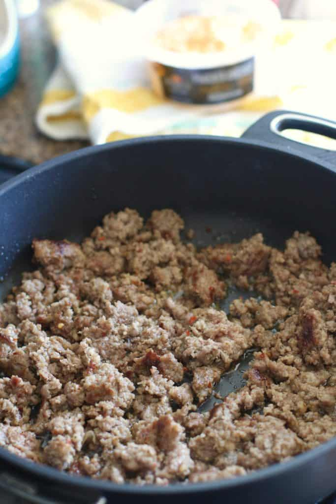 cooked ground crumbled sausage
