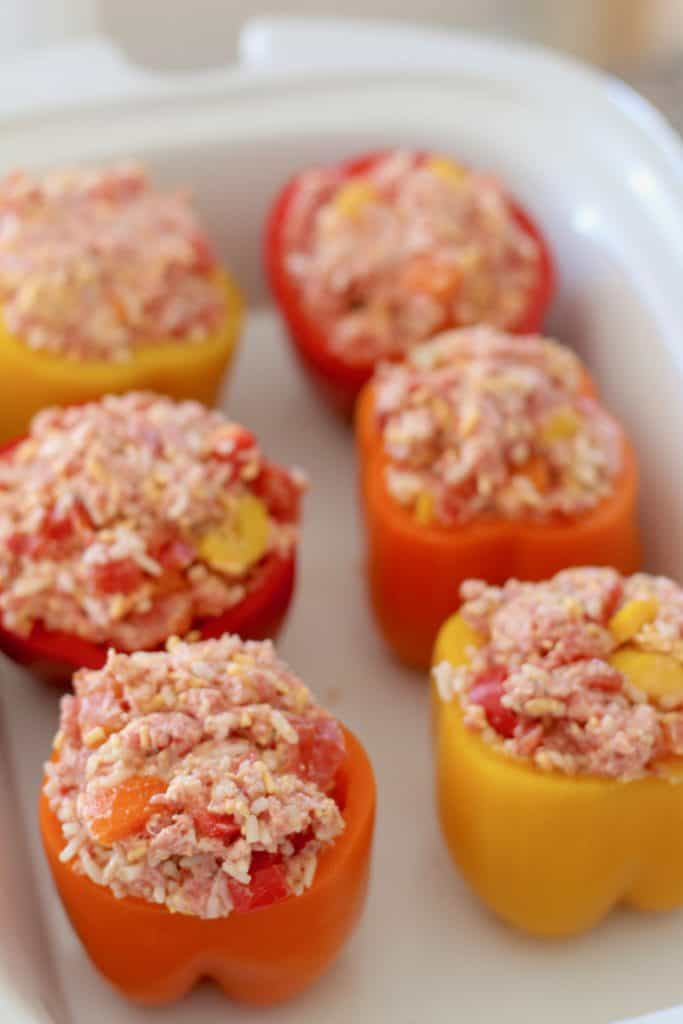 prepared stuffed peppers in crock pot