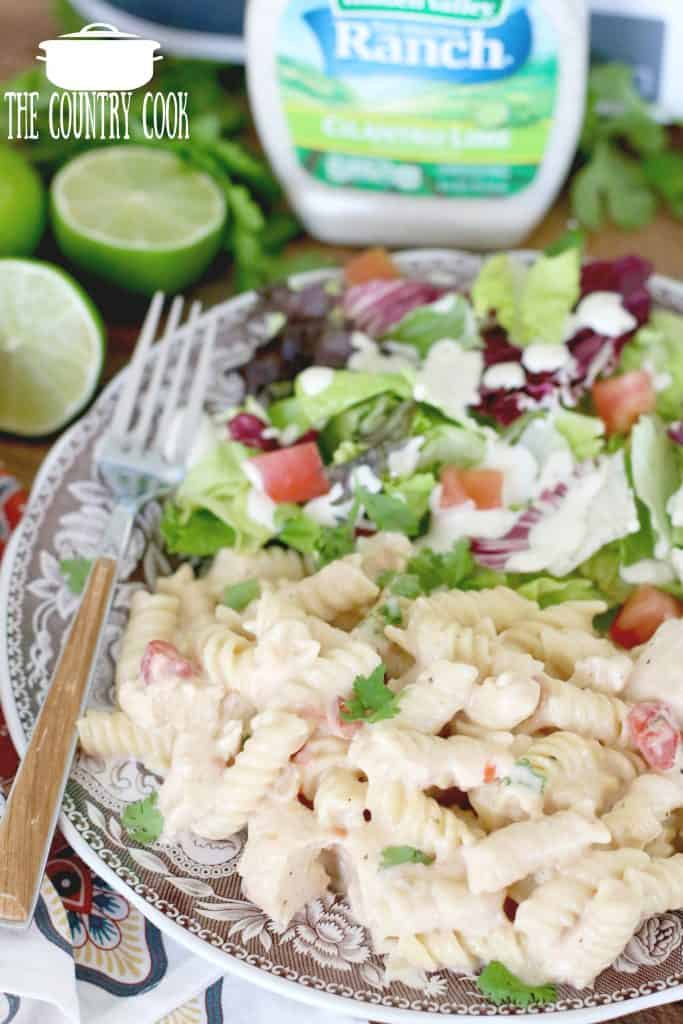 Slow Cooker Salsa Ranch Chicken Pasta with salad