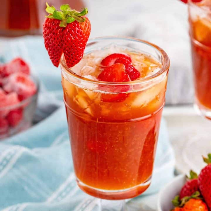Southern Strawberry Sweet Iced Tea recipe from The Country Cook