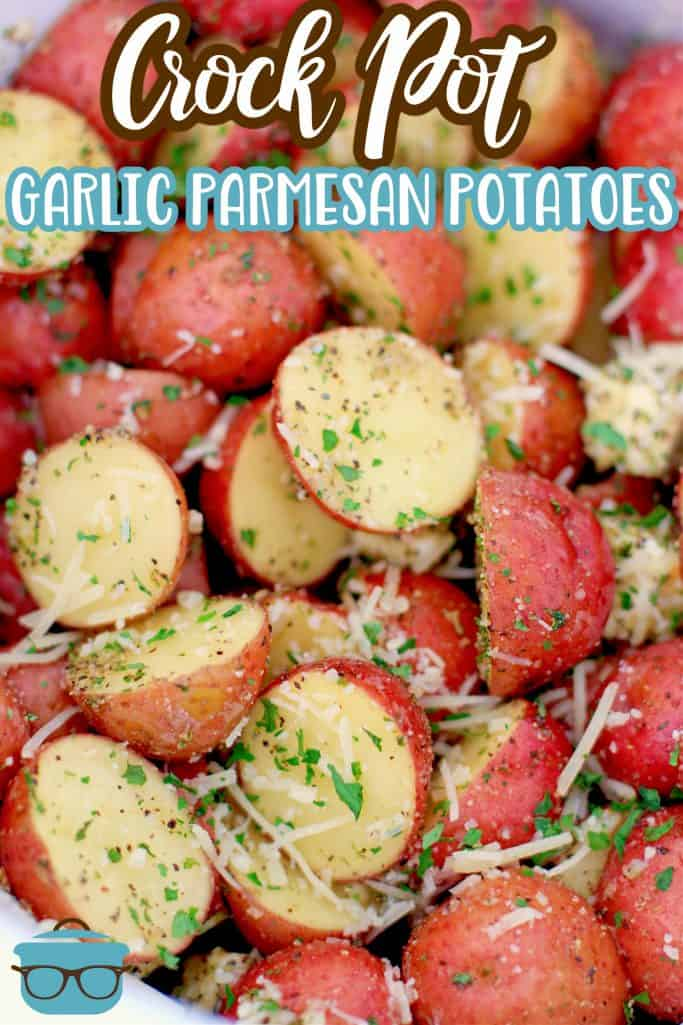 Crock Pot Garlic Parmesan Potatoes recipe from The Country Cook, sliced potatoes shown with seasoning and inside a white slow cooker