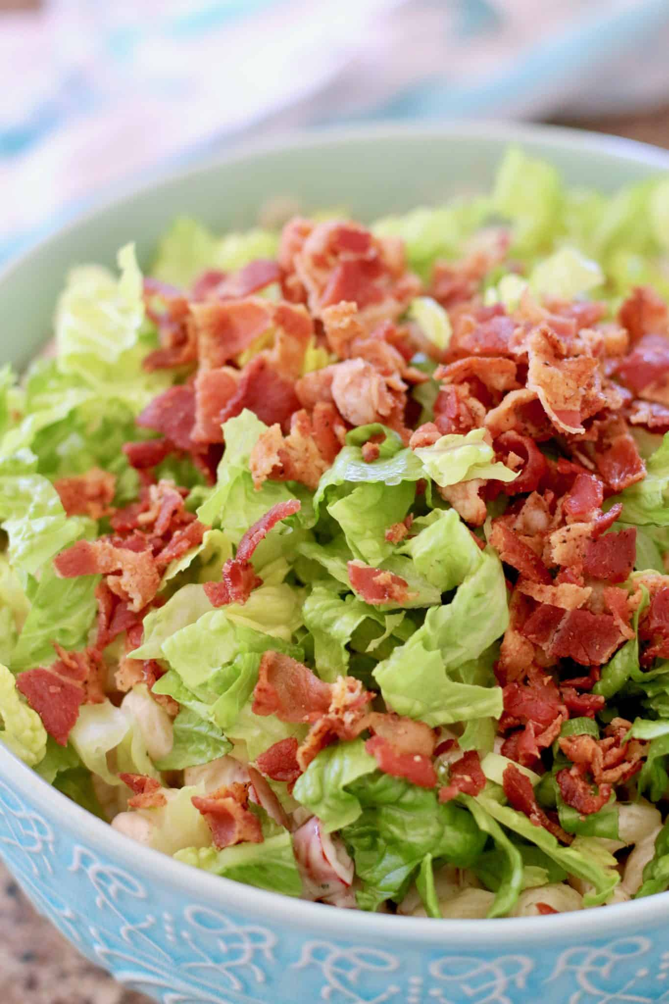 BLT Pasta Salad with chopped romaine lettuce and oven baked bacon.