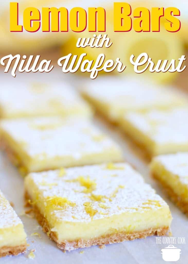 Cream Cheese Lemon Bars with Nilla Wafer crust recipe from The Country Cook