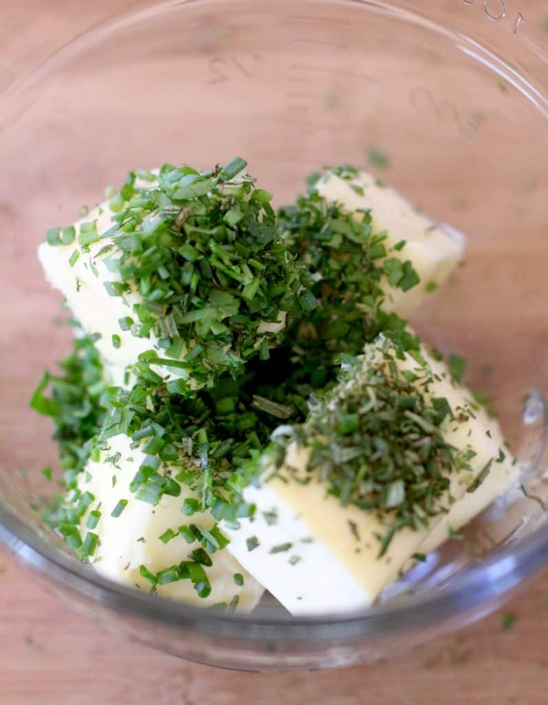 softened butter with chopped fresh herbs