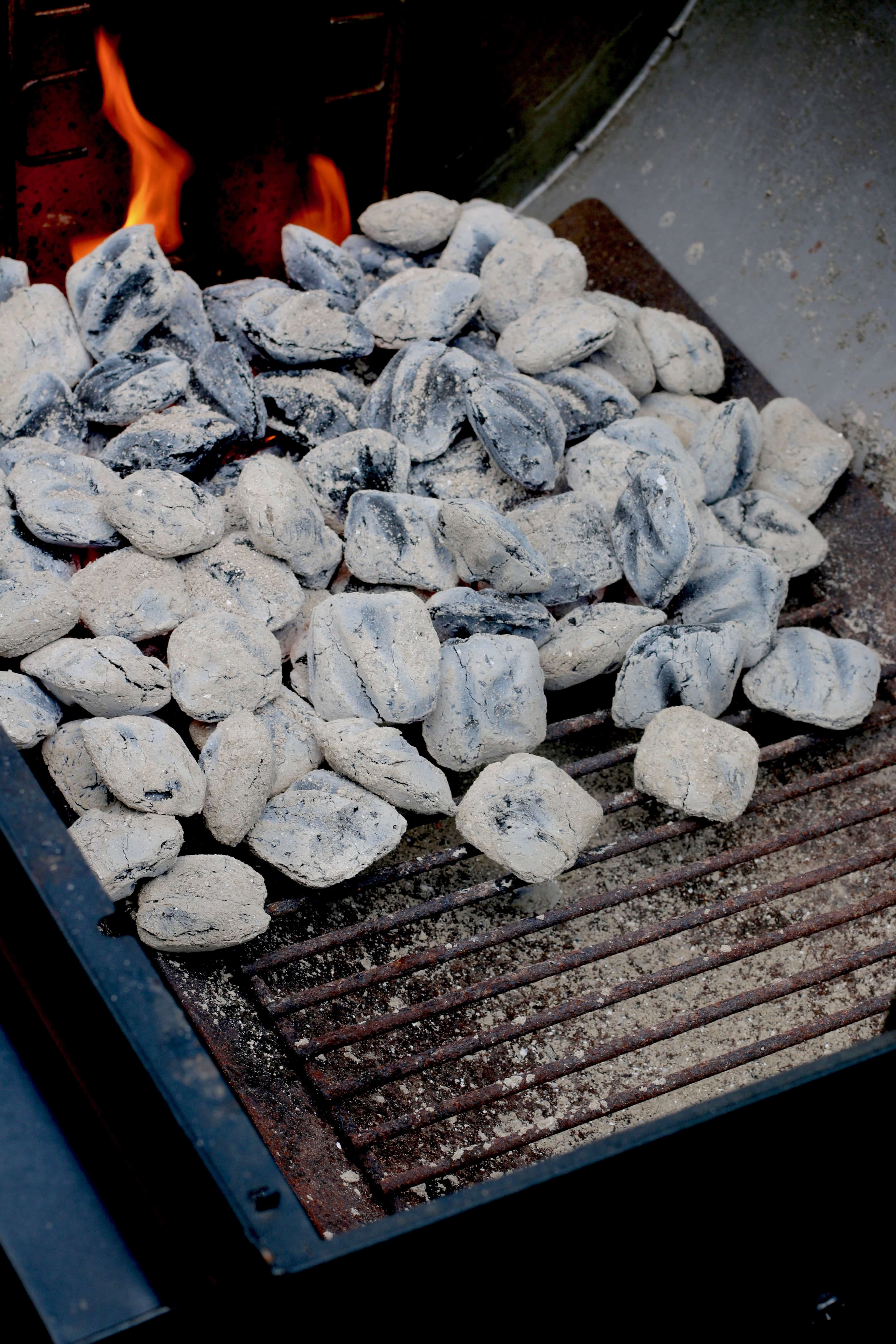 charcoal briquets will turn grey when ready