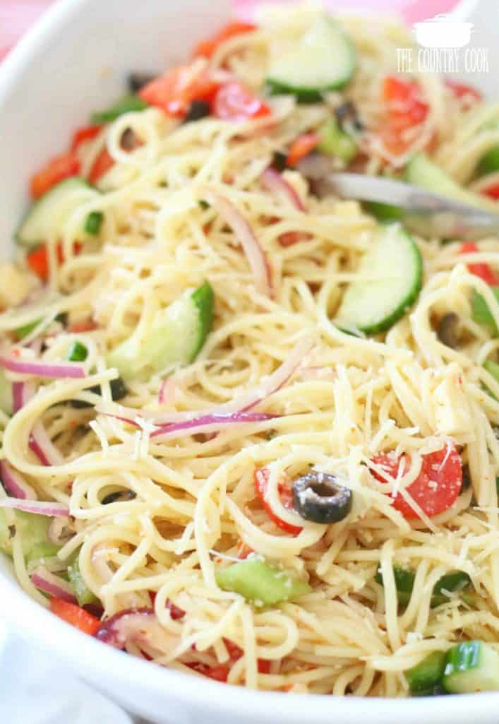 Spaghetti Pasta Salad recipe from The Country Cook