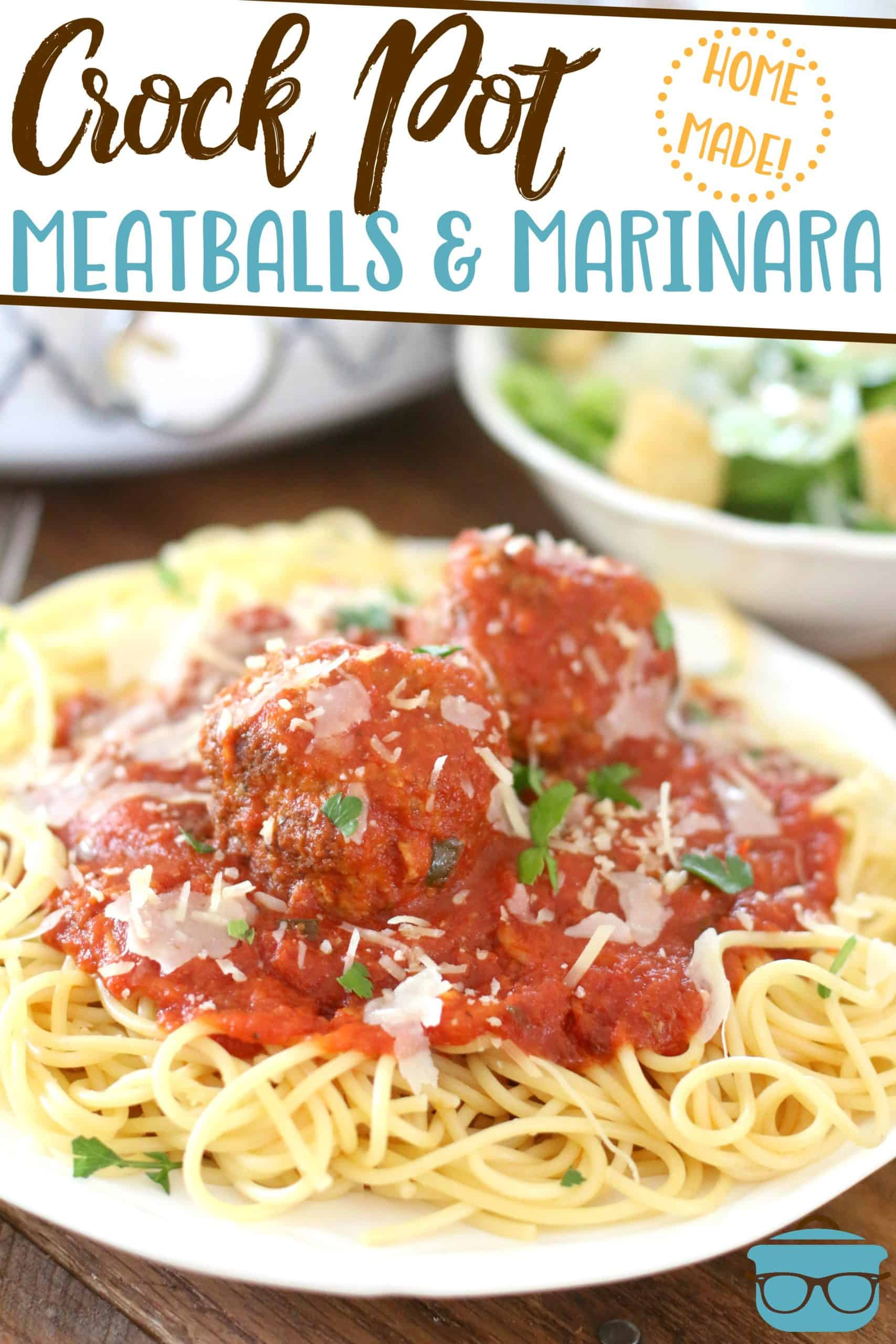 This Crock Pot Homemade Meatballs and Marinara Sauce is the ultimate comfort food. Fresh ingredients simmered all day in a crock pot. Put on your favorite pasta!