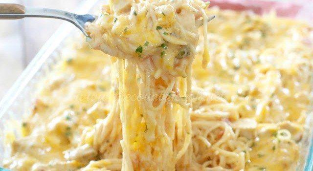 Creamy, Cheesy Chicken Spaghetti