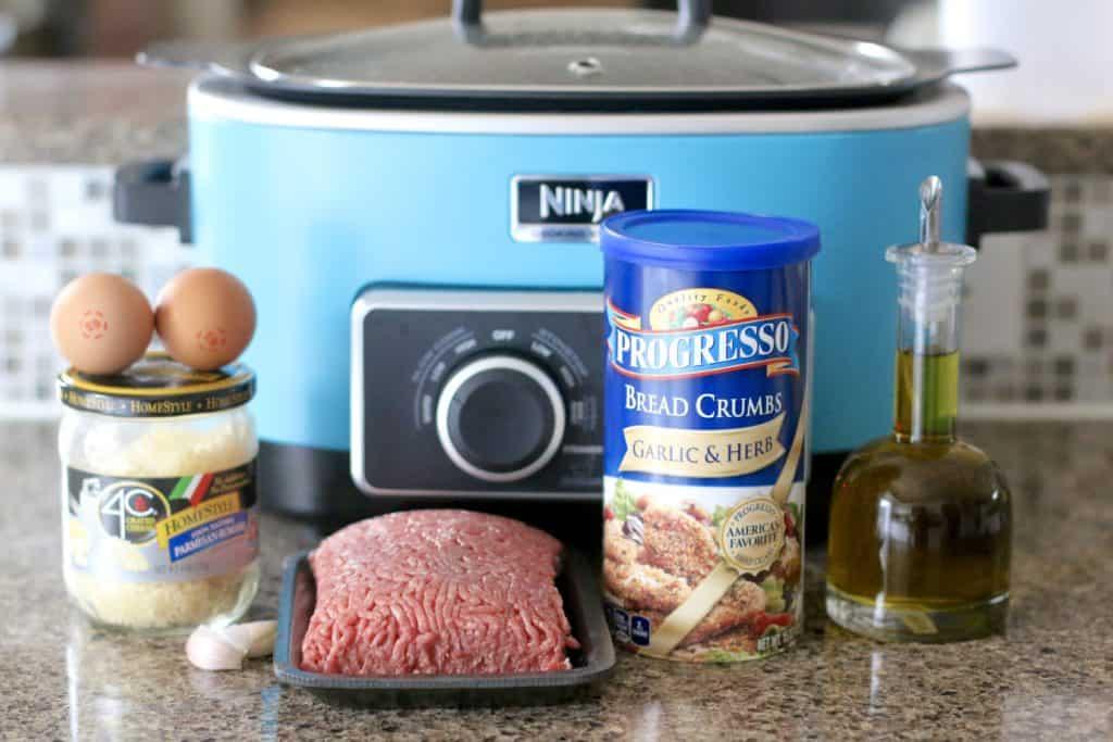 ground beef, eggs, bread crumbs (Italian or garlic & herbs, grated Parmesan Romano, garlic cloves, salt, pepper