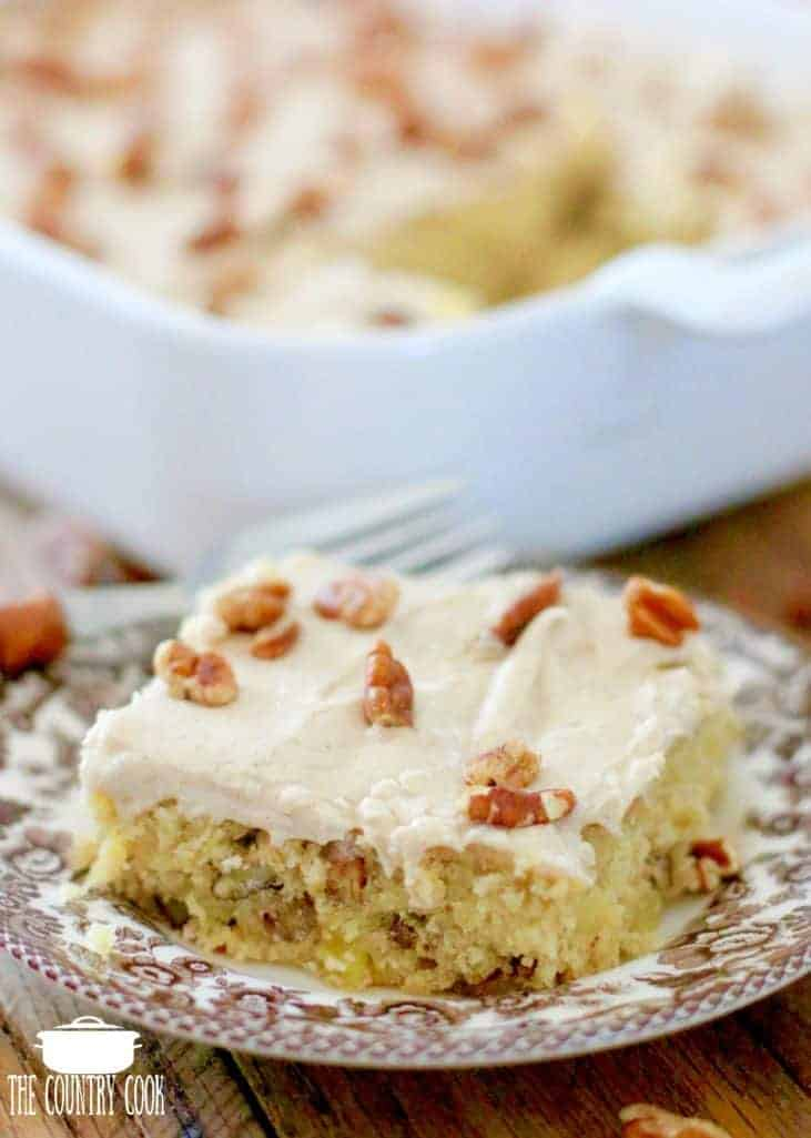 Hummingbird Cake Bar on Spode Delamere plate with wooden handle fork