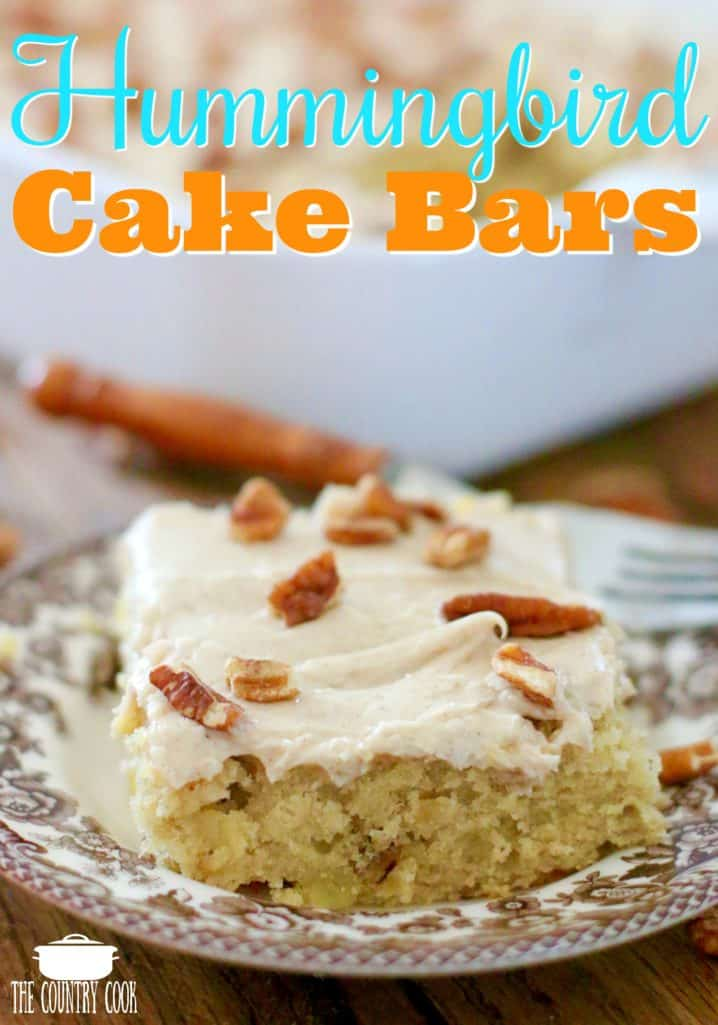 Hummingbird Cake Bars recipe at The Country Cook