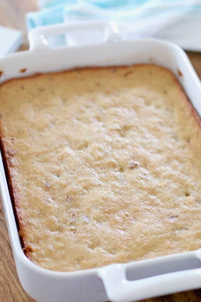 cooling hummingbird sheet cake recipe cooling in white baking dish