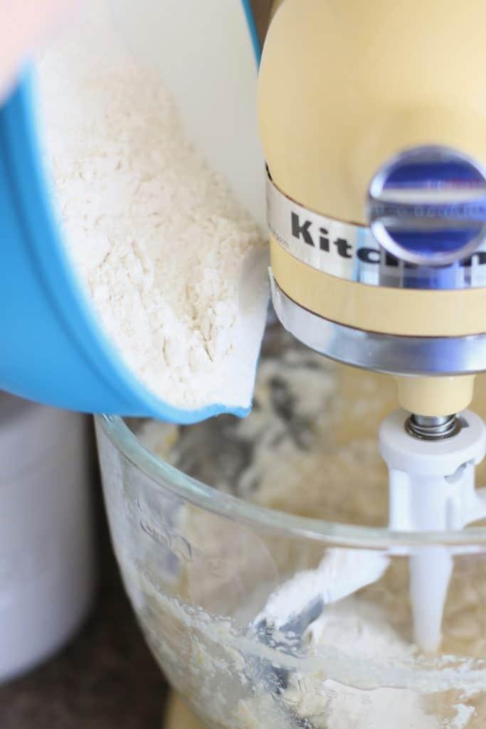 flour mixture added to KitchenAid stand mixer