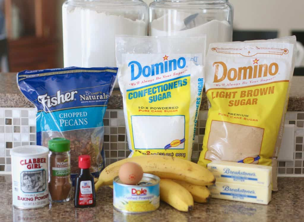 pecans, bananas, crushed pineapple, butter, brown sugar, confectioners sugar, cinnamon, vanilla extract