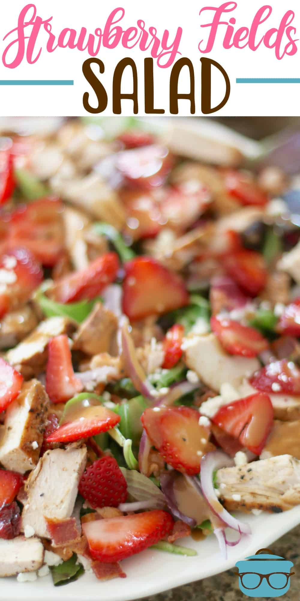 Strawberry Fields Salad recipe is inspired by the one at Wendy's. Full of greens, grilled chicken, strawberries and balsamic dressing. #strawberrysalad #balsamic