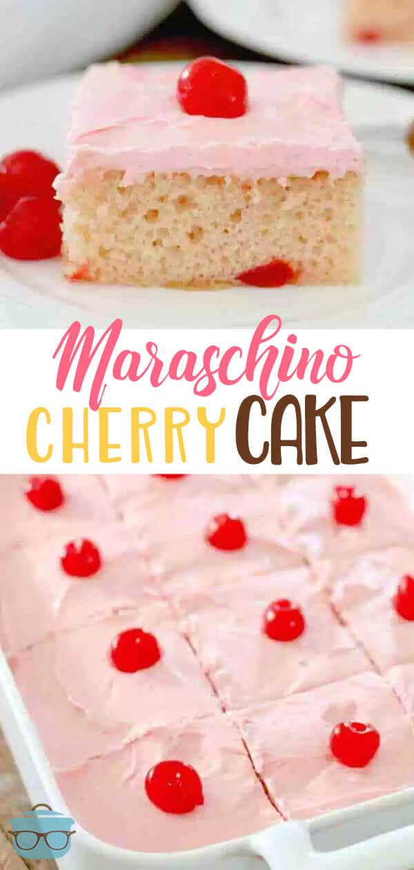 Maraschino Cherry Cake recipe uses a boxed cake mix, maraschino cherries and the most amazing, creamy frosting to top it all off with. So good! #dessert #cakemix