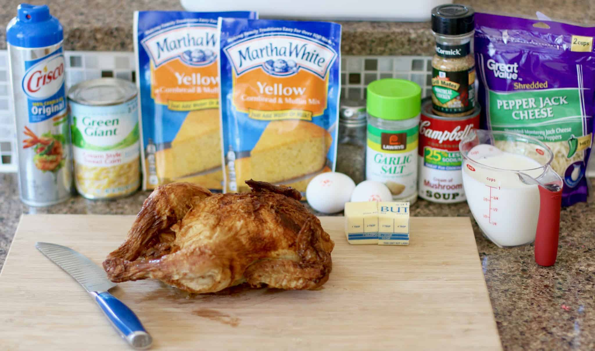 cornbread mix, rotisserie chicken, butter, garlic salt, cream of mushroom, montreal chicken seasoning