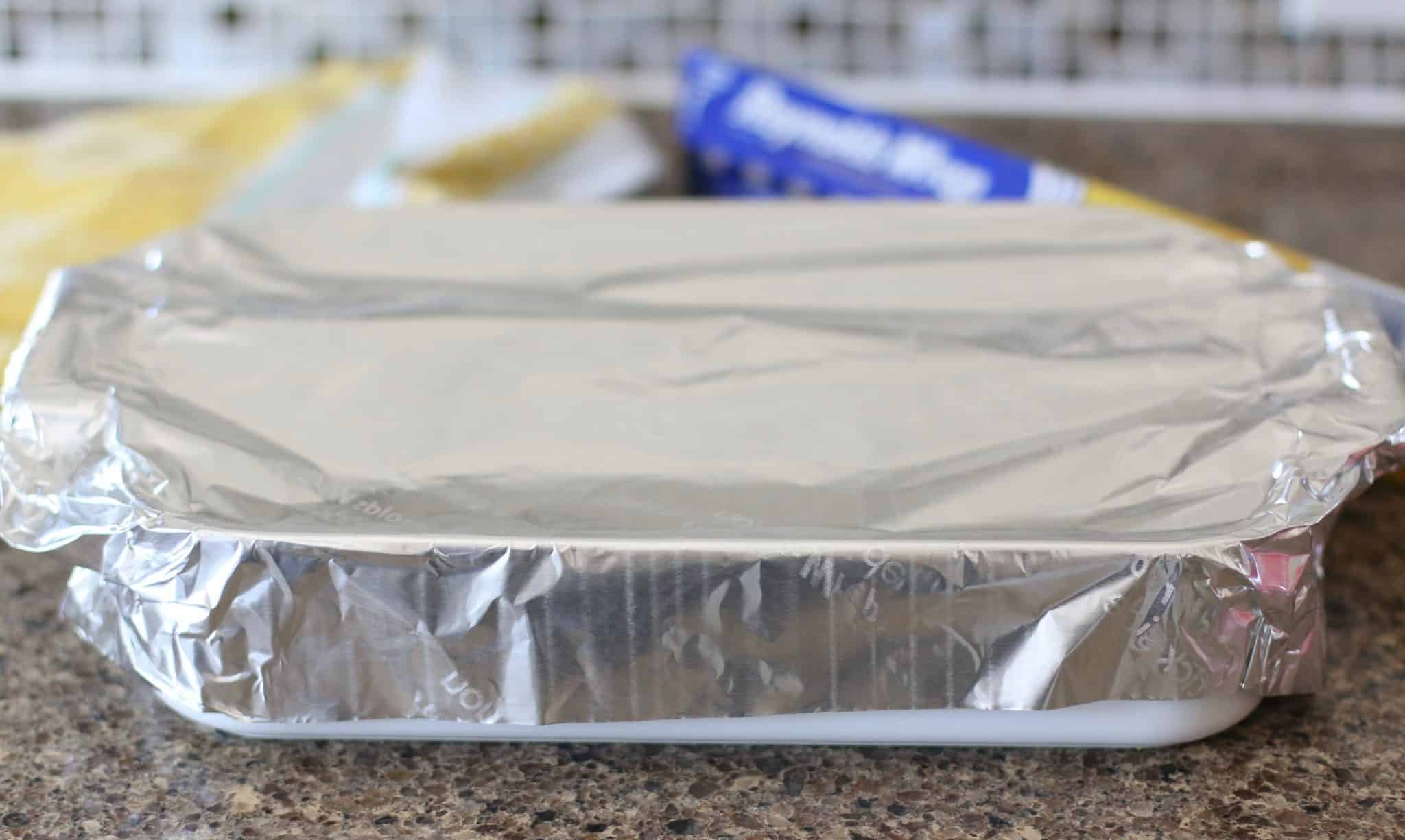 covered casserole with aluminum foil.