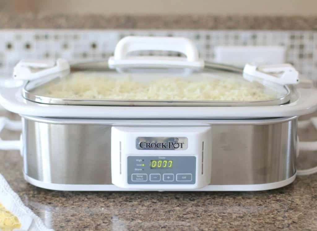 silver casserole crock pot