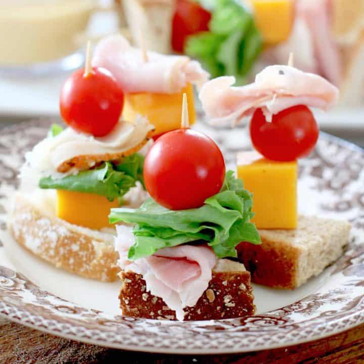 mini club sandwiches on a stick