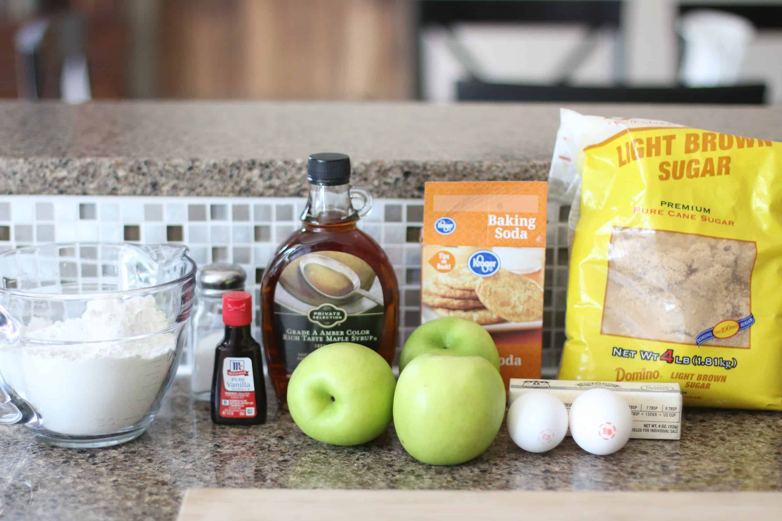 light brown sugar, unsalted butter, maple syrup, vanilla extract, large eggs, all-purpose flour, salt, baking soda, Granny Smith apples.