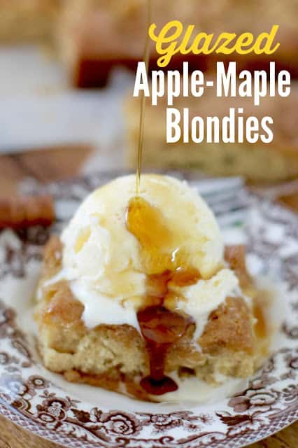 Glazed Apple Maple Blondies recipe from The Country Cook