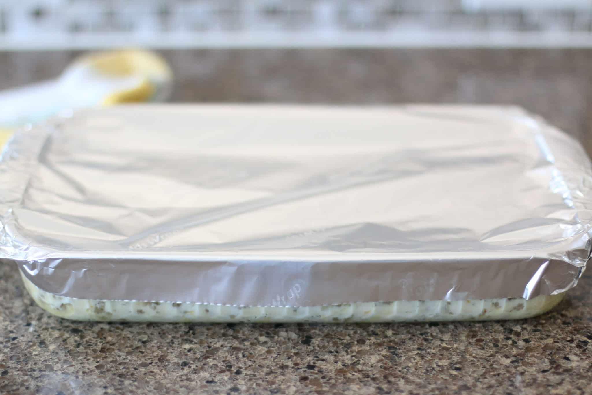 aluminum foil covered baking dish.