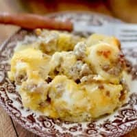 Sausage, Egg and Cheese Gravy Biscuit Breakfast Casserole recipe
