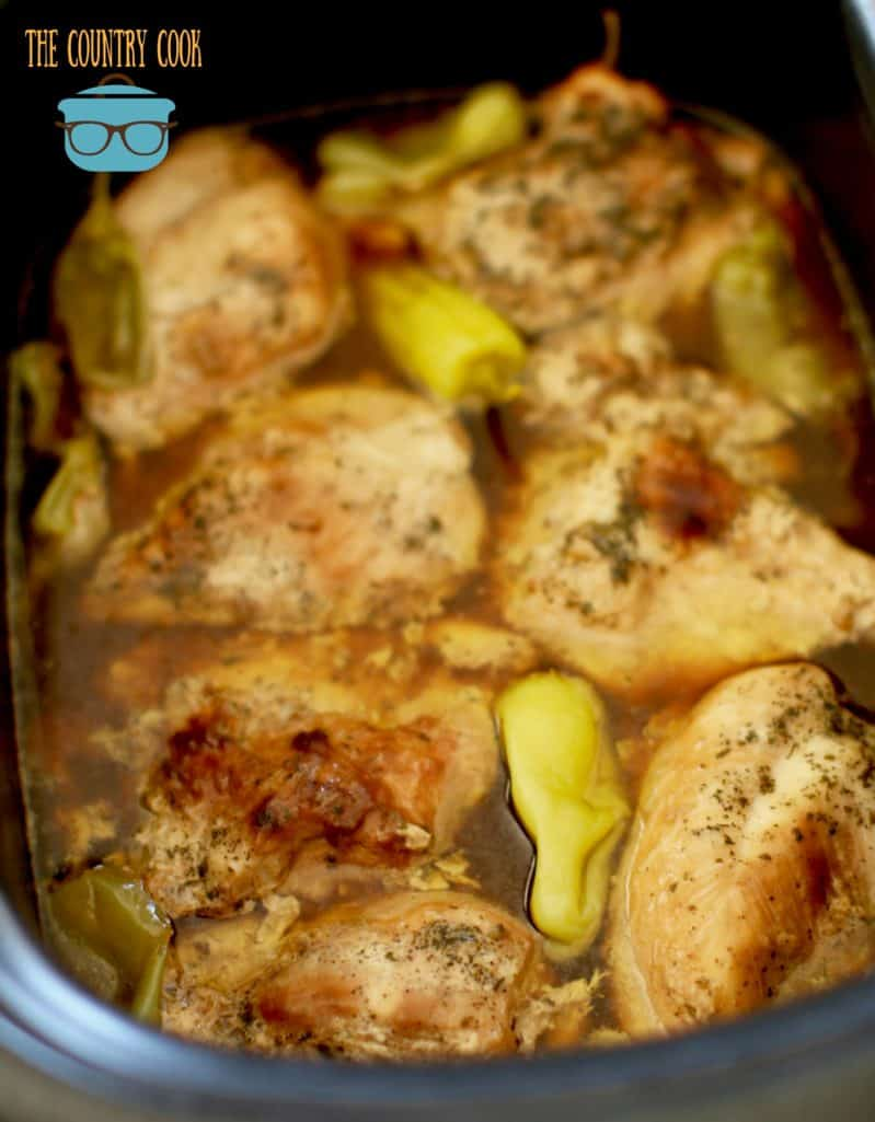 finished, Crock Pot Mississippi Chicken in juices