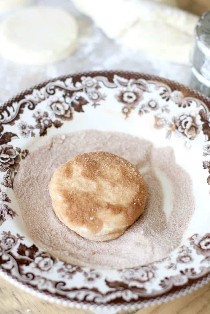 cinnamon sugar coated biscuit dough