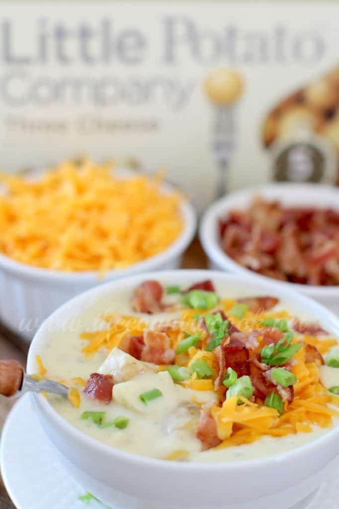 Crock Pot Cheddar Bacon Potato Soup recipe from The Country Cook