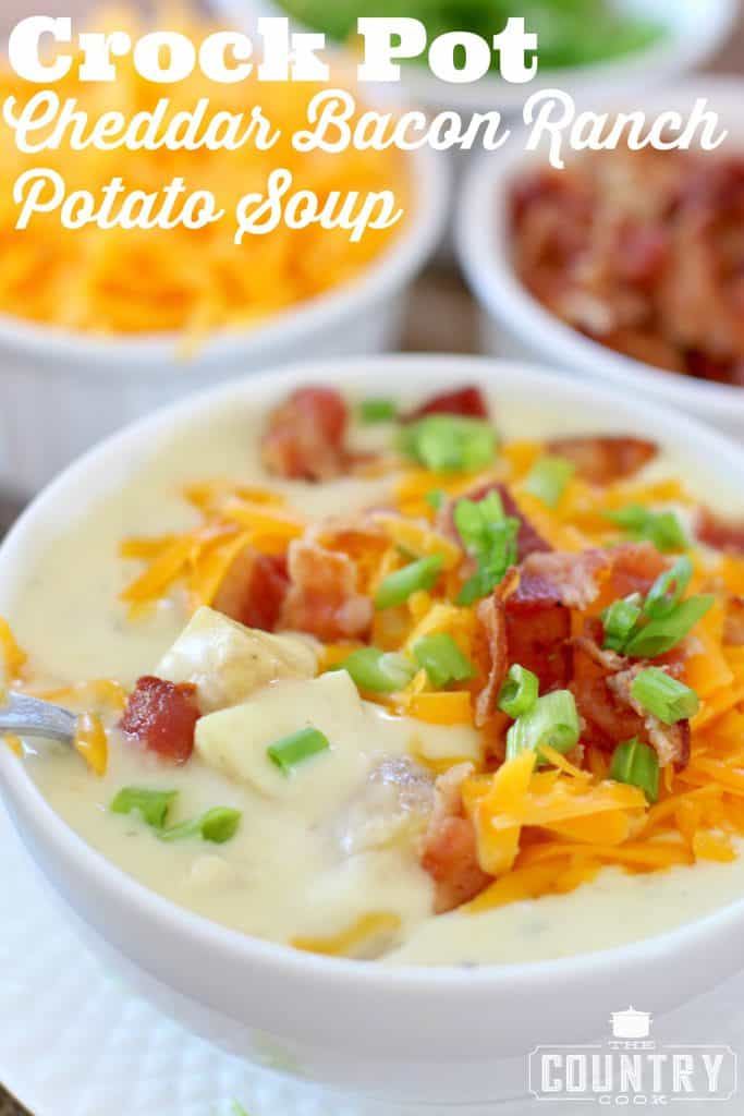 Crock Pot Cheddar Bacon Ranch Potato Soup