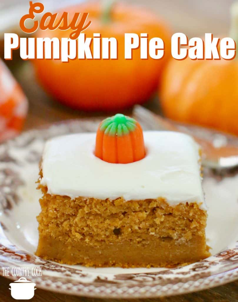 Easy Pumpkin Pie Cake recipe from The Country Cook