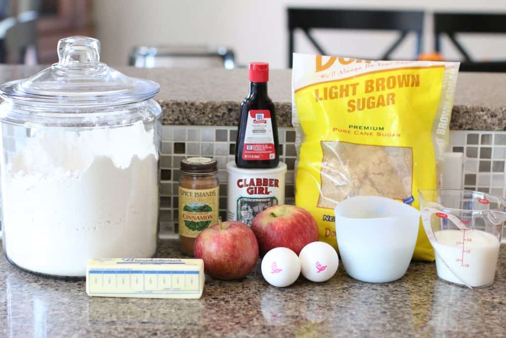 brown sugar, ground cinnamon, sugar, salted butter, eggs, vanilla extract, all-purpose flour, baking powder, milk, apples