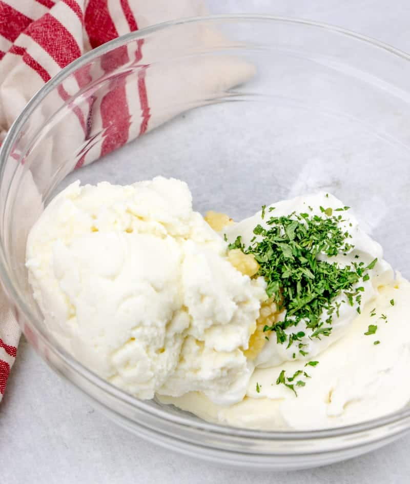sour cream, ricotta cheese, cream cheese, garlic, parsley