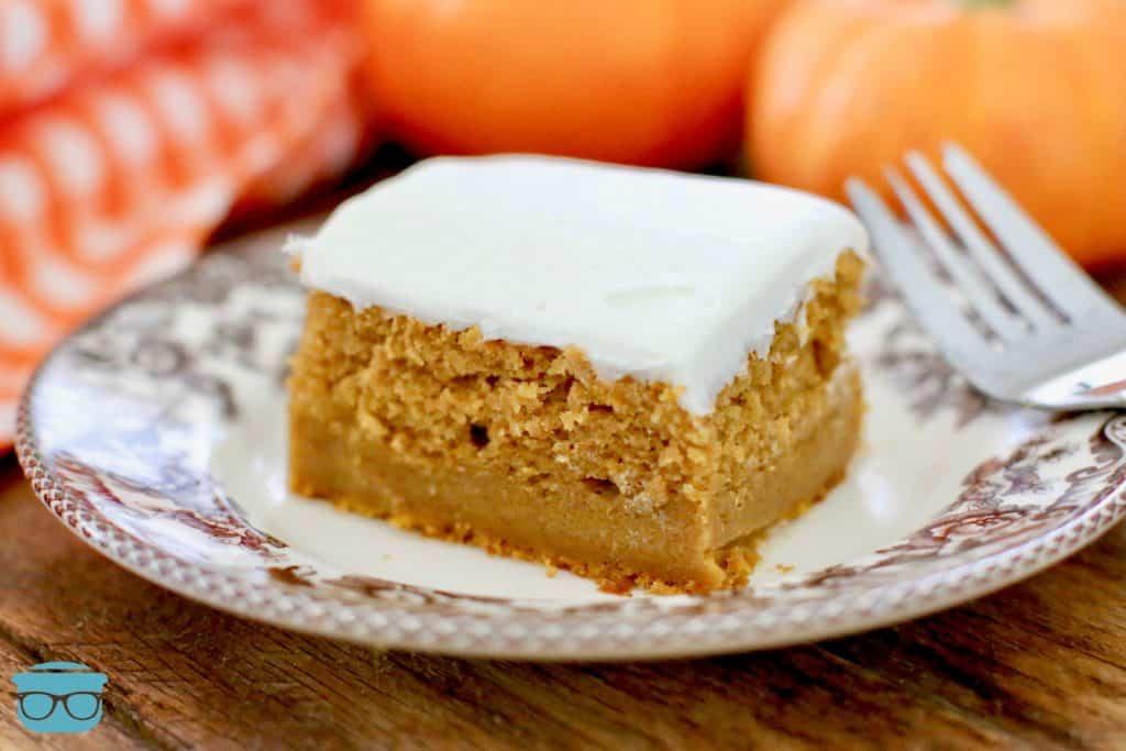Pumpkin Pie Magic Cake, slice on a plate
