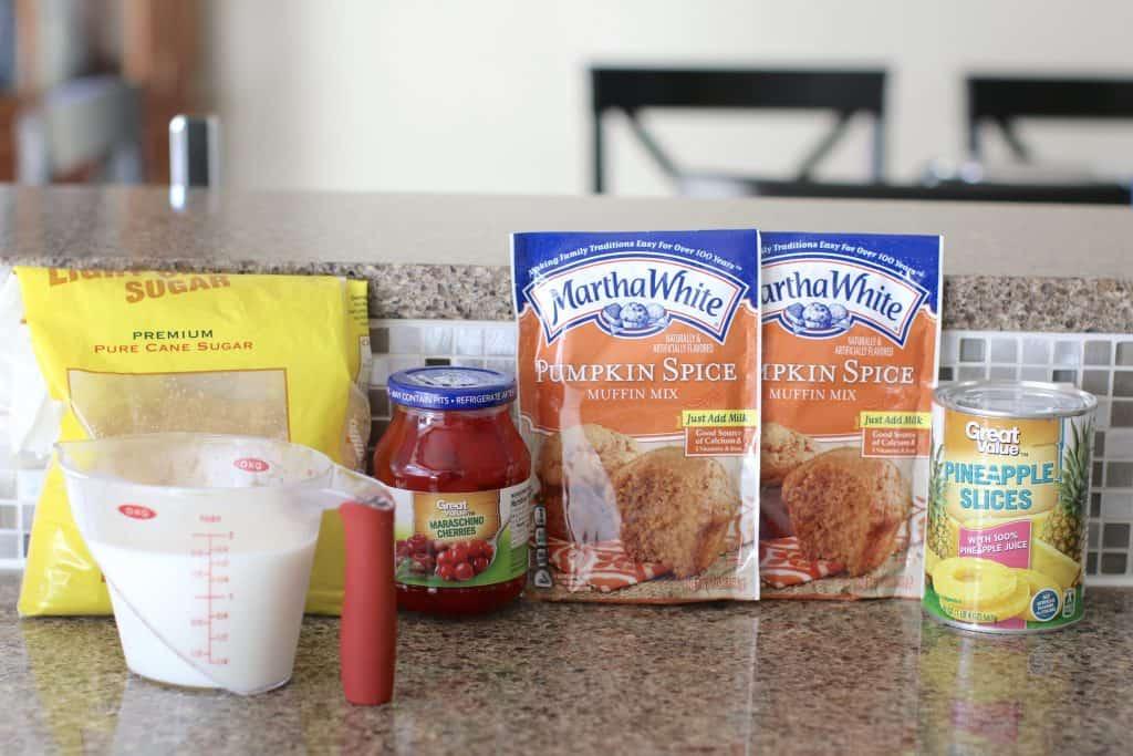 ingredients needed: brown sugar, pineapple slices, maraschino cherries, Martha White Pumpkin Spice Muffin Mix, milk