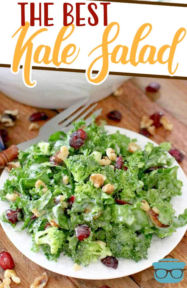 The Best Kale Salad recipe is full of healthy greens like kale and broccoli along with walnuts, dried cherries and sweet and sour dressing.