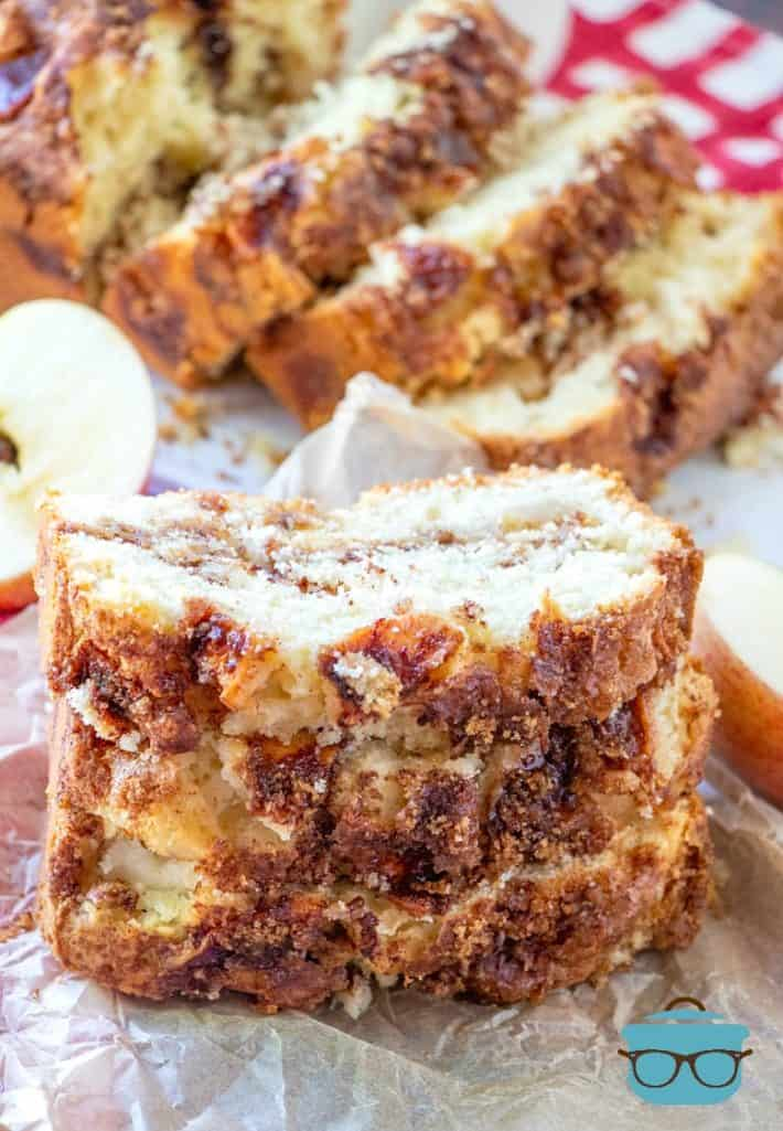 sliced Apple Pie Bread on parchment paper