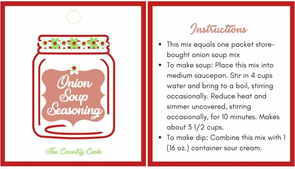Onion Soup Seasoning Printable