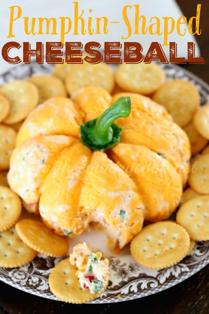 Pumpkin Shaped Cheeseball recipe from The Country Cook