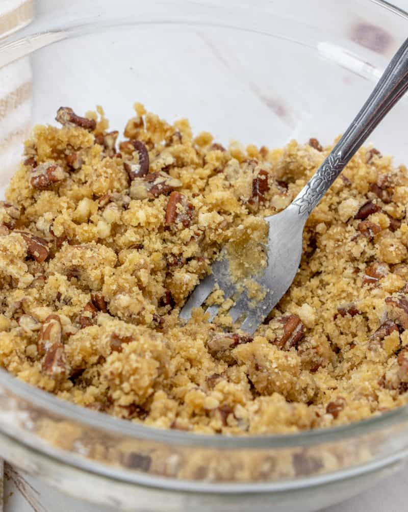 sweet potato casserole crumble topping mixture in a bowl